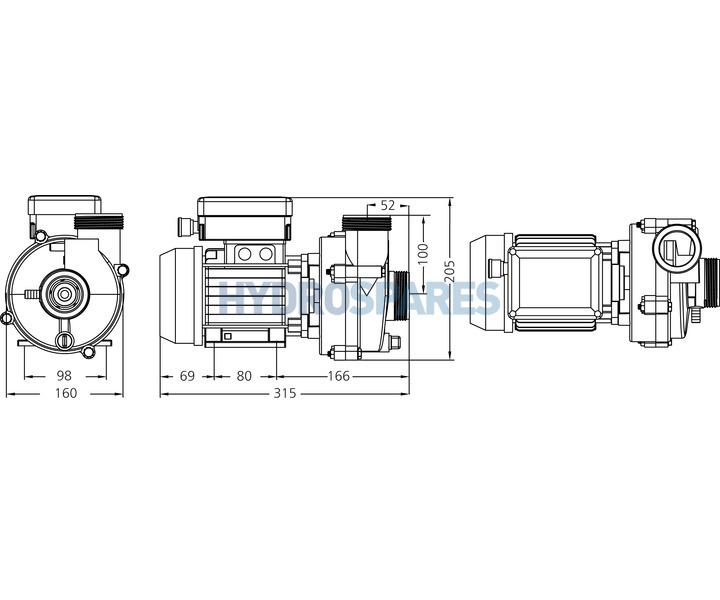 hydroair circulation pump 1 speed