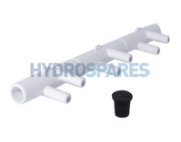 "Water/Air Manifold 3/4"" Spg/Spg x 3/8"" Smooth Barb (6)"