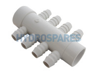 "Manifold 1.5"" Soc/Spg x 3/4"" Ribbed Barb (8)"