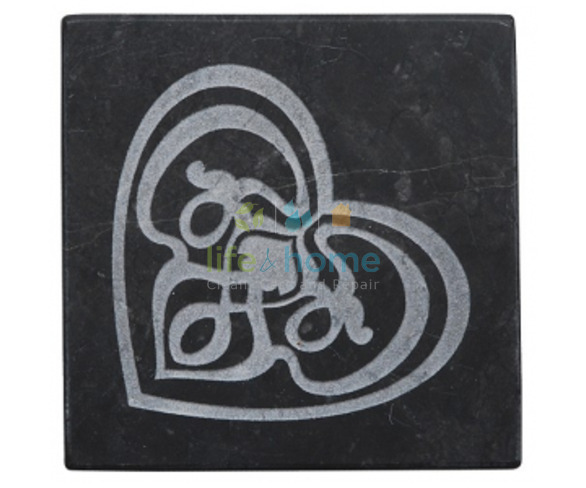 Engraved Black Marble Soap Dish - Fairtrade